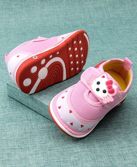 Cute Walk by Babyhug Casual Shoes Kitty Patch - Pink