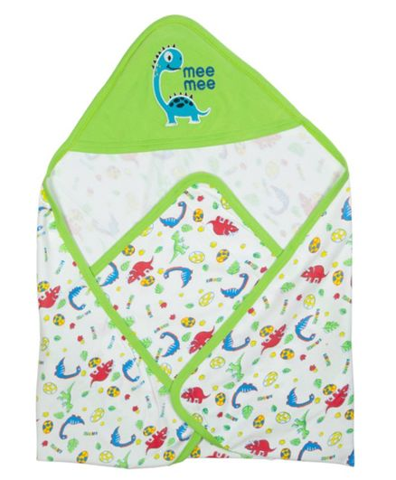 Mee Mee Hooded Wrapper Dinosaur Patch - White Green