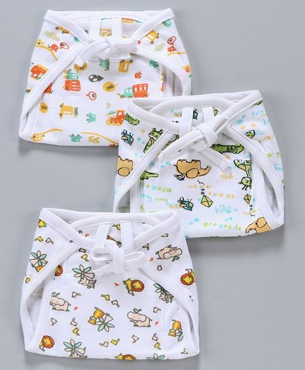 MeeMee Reusable Baby Cloth Nappies Pack of 3 - Multicolour