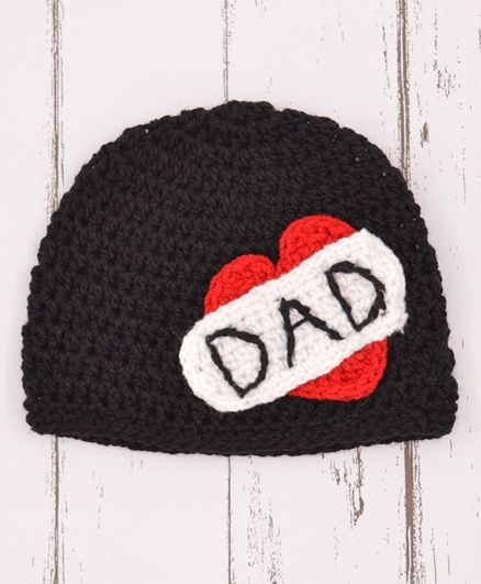 Loce Crochet Art Crochet Dad Heart Love Pattern Crochet Cap - Black