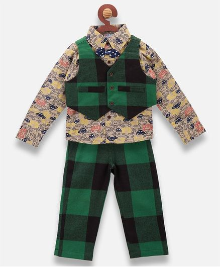 Lilpicks Couture Cars Printed Full Sleeves Shirt With Waistcoat & Pants - Green