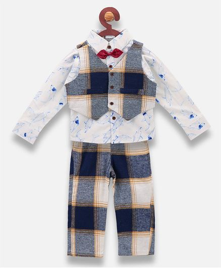 Lilpicks Couture Shark Printed Full Sleeves Shirt With Waistcoat & Pants - Dark Blue