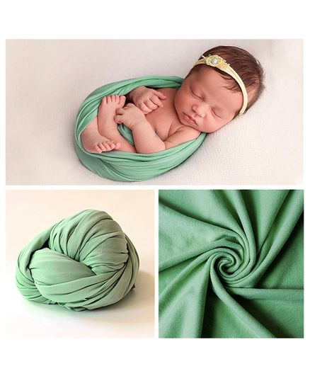 Babymoon Jersey Stretchble Swaddle Wrap New Born Baby Photography Shoot Props Costume - Green