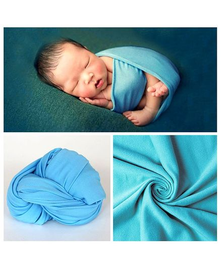 Babymoon Jersey Stretchble Swaddle Wrap New Born Baby Photography Shoot Props Costume - Blue