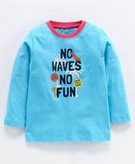 Ohms Full Sleeves Tee Waves Print - Light Blue