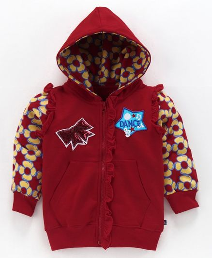 Kiddopanti Bow & Dance Applique Frill Detailed Full Sleeves Hooded Jacket - Red