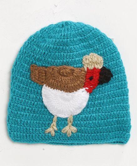 MayRa Knits Bird Design Cap - Blue