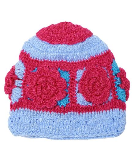 MayRa Knitted Flower Decorated Woolen Cap - Pink & Blue