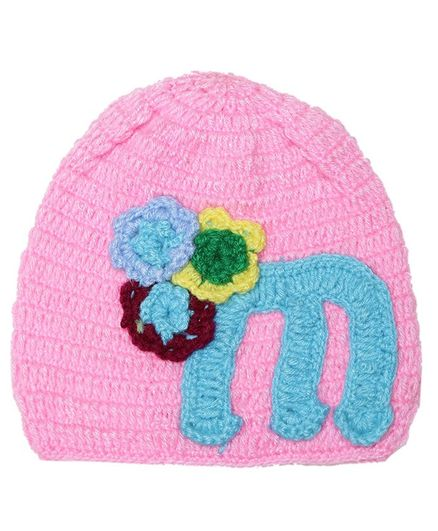 MayRa Knits Flower Decorated Crochet Cap - Pink