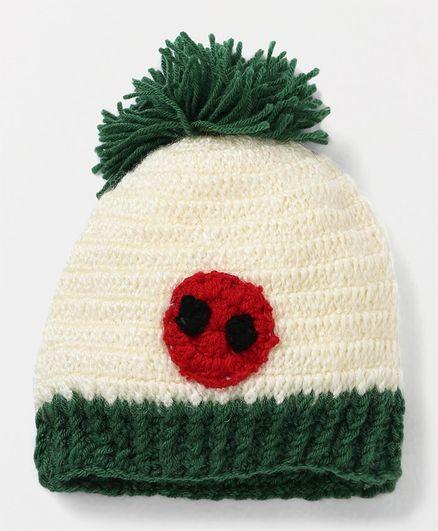 MayRa Knits Circle Pattern Hand Knitted Cap - Cream