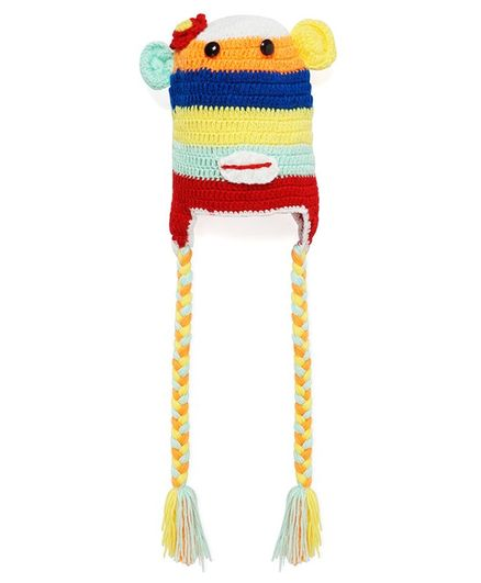 MayRa Knits Braided Tassels Hand Knitted Cap - Multicolor