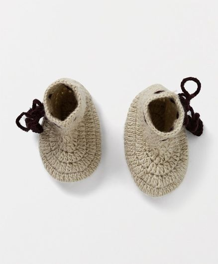 MayRa Knits Solid Booties - Beige