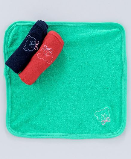 Simply Face Towels Bear Embroidery Pack of 3 - Red Navy Blue Green