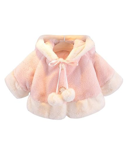 Pre Order - Awabox Pom Pom Ribbon Bunny Hooded Full Sleeves Jacket - Pink