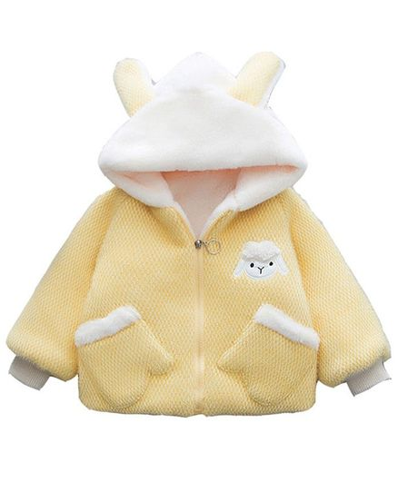 Pre Order - Awabox Sheep Patch Bunny Hooded Full Sleeves Jacket - Yellow