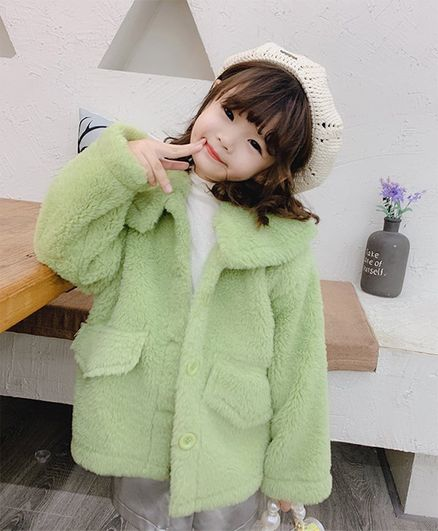 Pre Order - Awabox Solid Full Sleeves Jacket - Light Green