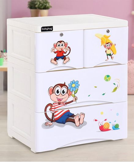 Babyhug  Compartment Chest of Drawers Monkey Print - White