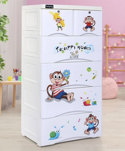 Babyhug 6 Compartment Chest of Drawers with Wheels - Blue