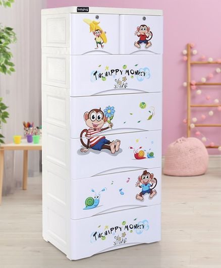 Babyhug 7 Compartment Chest of Drawers with Wheels Monkey Print - White