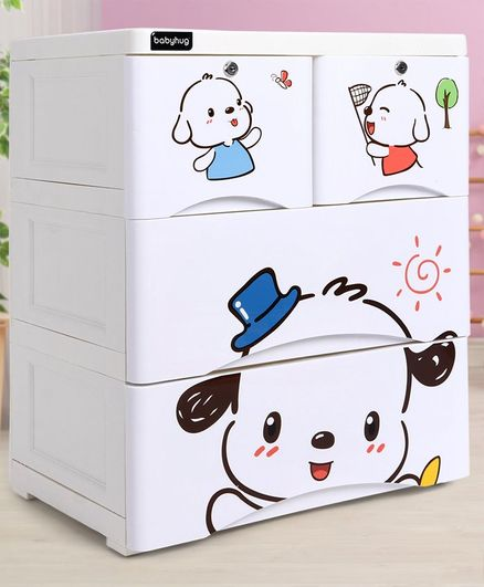 Storage Cabinet 4 Compartment Puppy Print - White