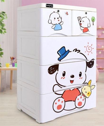 Storage Cabinet 5 Compartment Puppy Print - White