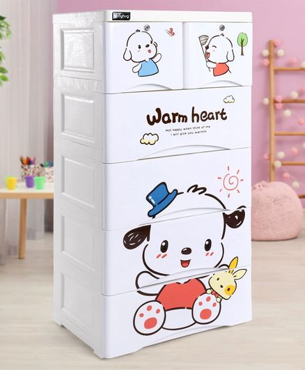 Babyhug 6 Compartment Chest of Drawers Teddy Print - White
