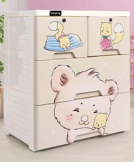 Storage Cabinet 4 Compartment Teddy Print - Cream