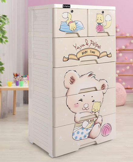Storage Cabinet 6 Compartment Teddy Print - Cream