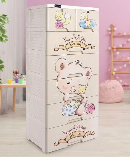 Storage Cabinet 7 Compartment Teddy Print - Cream
