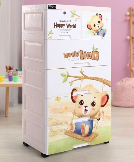 Babyhug 6 Compartment Chest of Drawers Teddy Print -White Cream