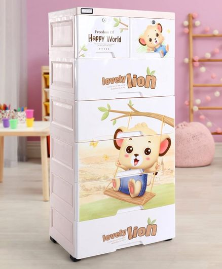 Babyhug 7 Compartment Chest of Drawers Teddy Print - White Cream