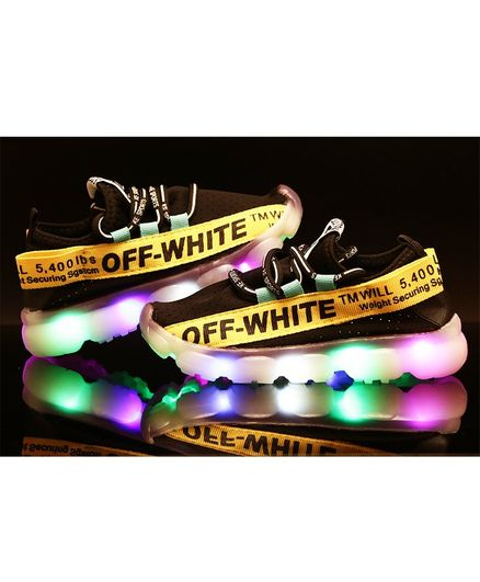 Passion Petals Off White Printed LED Shoes  - Black