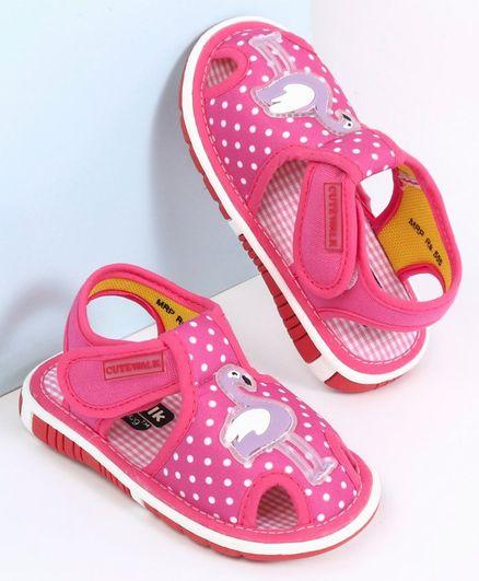 Cute Walk by Babyhug Sandals Flamingo Patch - Pink