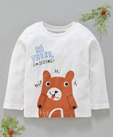 Kookie Kids Full Sleeves Tee Bear Print - White