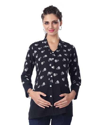 Kriti Full Sleeves Maternity Top Hand Bag Print - Black