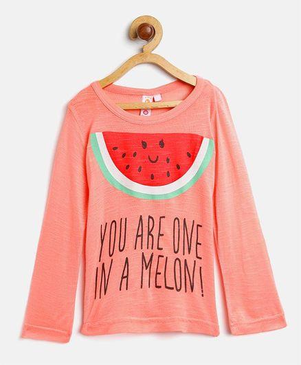Kids On Board Melon Printed Top - Peach