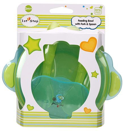 1st Step Feeding Bowl with Fork and Spoon - Green