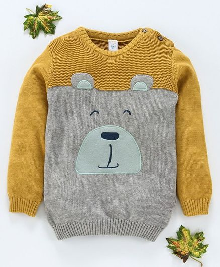LC Waikiki Bear Face Patch Full Sleeves Sweater - Grey