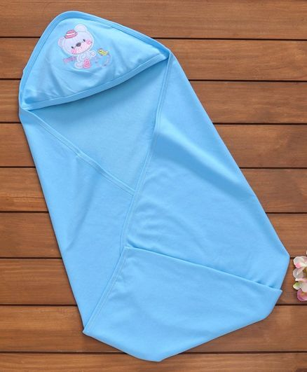 Simply Hooded Wrapper Embroidered Animal Patch - Blue