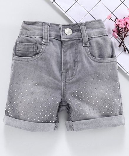 Babyhug Studded Denim Shorts - Light Grey