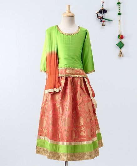 Bownbee Three Fourth Sleeves Choli With Brocade Lehenga & Dupatta Set - Green Peach