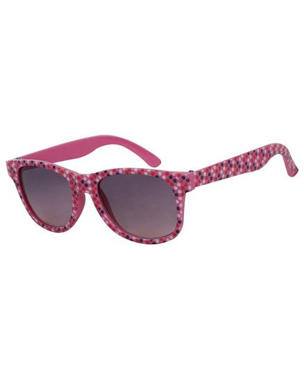 Spiky 100 % UV Protection Wayfarer Polka Dot Printed Sunglasses With Case - Dark Pink
