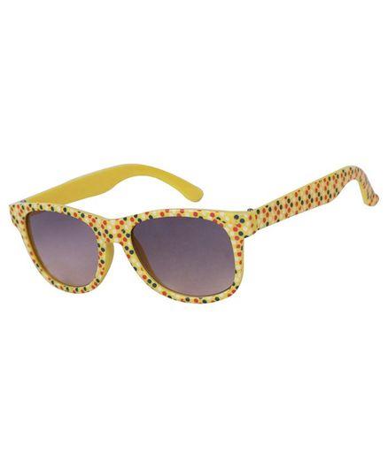 Spiky 100 % UV Protection Wayfarer Polka Dot Printed Sunglasses With Case - Yellow
