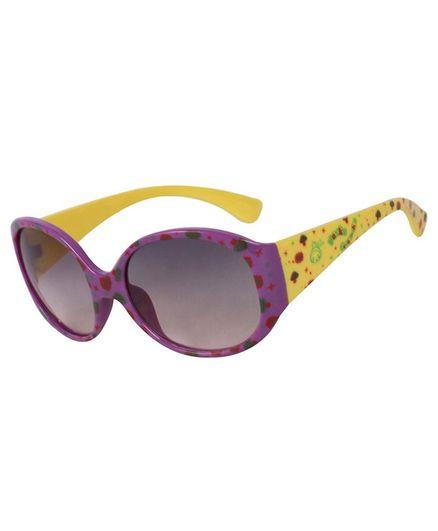 Spiky 100 % UV Protection Oval Mushroom Printed Sunglasses With Case - Purple
