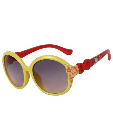 Spiky 100 % UV Protection Oval Flower Printed Sunglasses With Case - Yellow