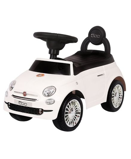 EZ Playmates Fiat 500 Manual Ride On Car With Back Rest - White