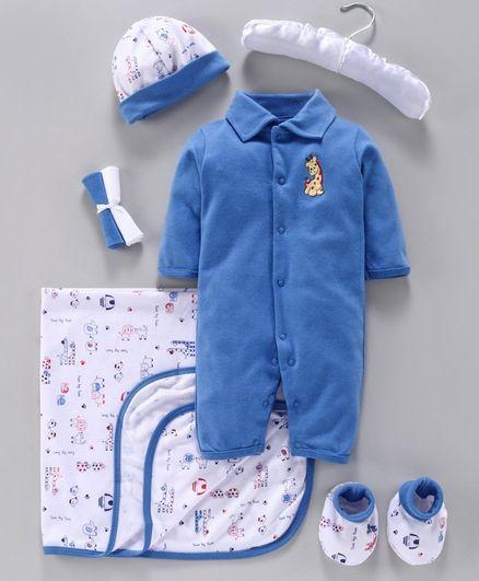 Mee Mee Baby Gift Set Giraffe Print Pack of 7 - Dark Blue