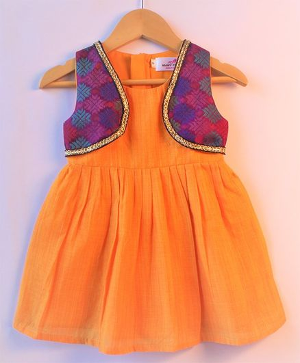 Many frocks & Sleeveless Dress With Attached Printed Jacket - Mustard & Purple