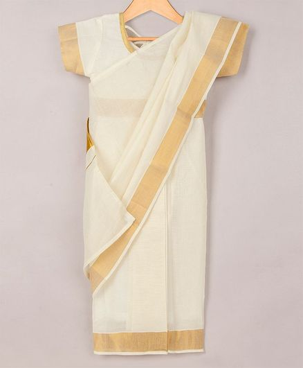 KID1 Golden Border Saree With Short Sleeves Blouse - White