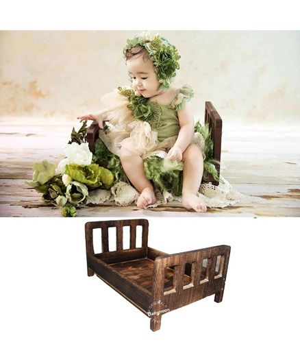 Babymoon Wooden Bed Photoshoot Prop - Brown